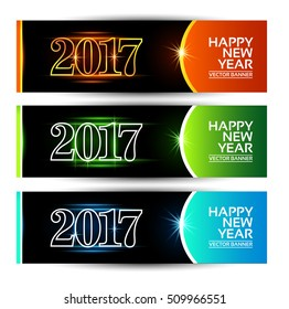 New Year 2017 Vector Banner. Eps.10