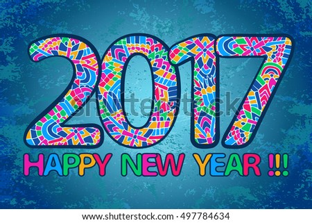 New Year 2017 Wallpaper Happy Poster Abstract Doodles