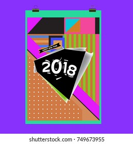 New Year 2018 Calendar Cover Template. Calendar and Poster Design with Colorful Memphis Style background.