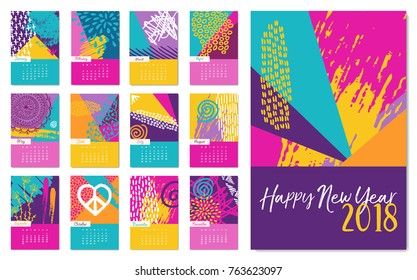 New Year 2018 calendar template, monthly planner set with fun colorful hand drawn art and boho style decoration. EPS10 vector.