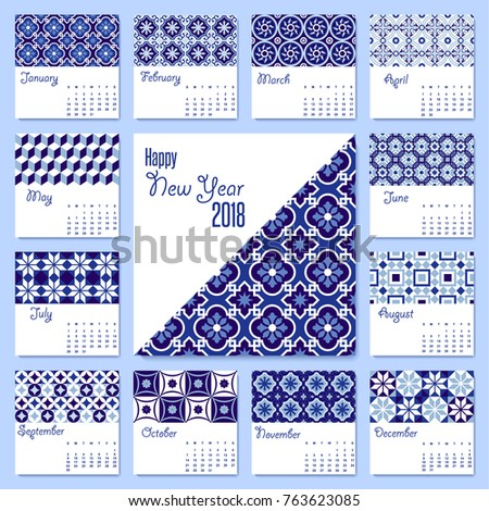 new year 2018 calendar template with arabic traditional blue ceramic mosaic illustrations monthly planner set