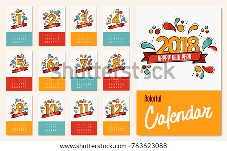 new year 2018 calendar template with monthly planner set and flat line art numbers for each