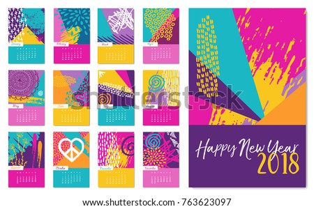 new year 2018 calendar template monthly planner set with fun colorful hand drawn art and
