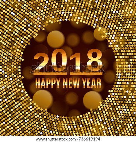 new year 2018 celebration background happy new year gold type on black blurred background with