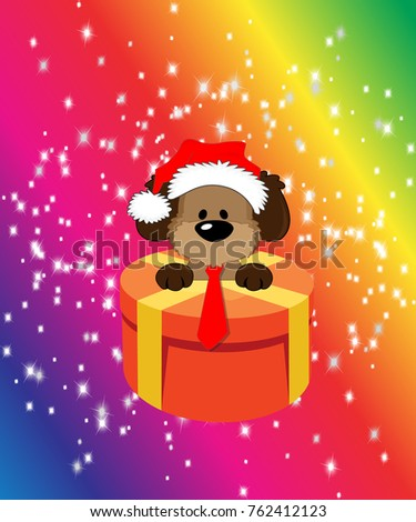 new year 2018 chinese new year of the dog shepherd on a rainbow background