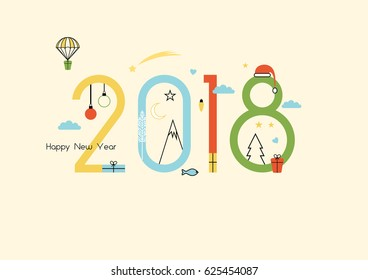 New Year 2018 and Christmas flat line design
