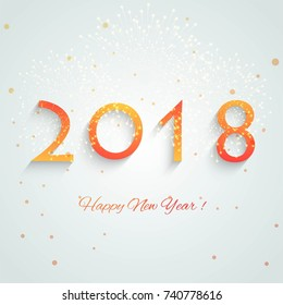 New year 2018 colorful text design