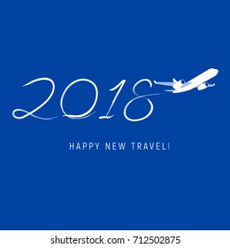 New Year 2018 concept - airplane left a trace in the form of numbers. Flat vector clip art. Greeting card or poster template - plain write digits in the sky. With place for text. Celebration logo.