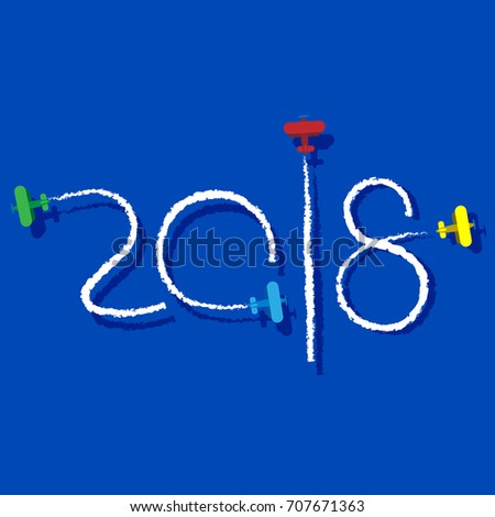 new year 2018 concept planes left traces in the form of numbers airplane write