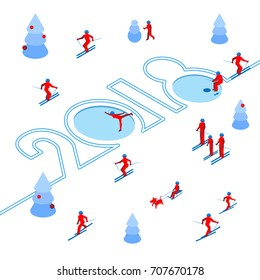 New Year 2018 concept - skier left a trace in the form of numbers. Lot of people around. Athlete write digits on the snow - vector image clip art. Isometric 3D on white background. Celebration logo.