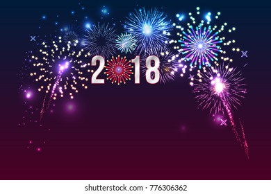 New Year 2018, fireworks background with space for text. illustration vector.