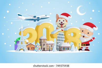 New year 2018. Greeting card. Flat 3d numbers and objects. The winter vacation.  A small town in the mountains at night. Santa Claus and Dog. Christmas travel vector illustration.