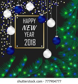 New Year 2018 greeting card with white and blue 3d balls and colorful lights. frame with calligraphy