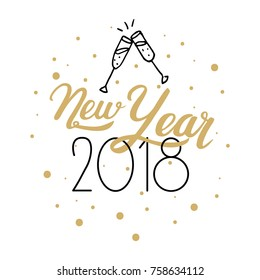 New Year 2018. Hand drawn logo for New Year card, poster, design. Modern hand lettering on white background
