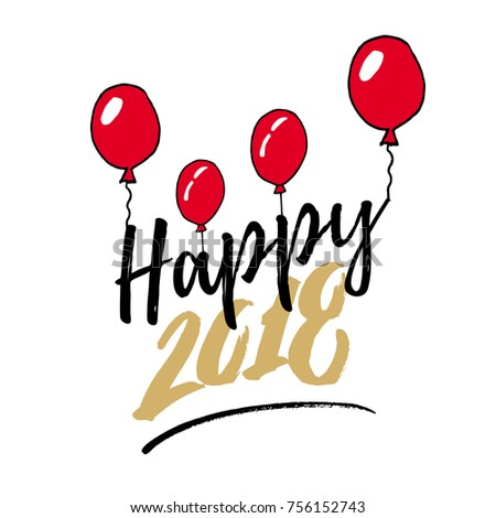 new year 2018 hand drawn logo for new year card poster design
