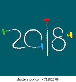 New Year 2018 illustration - planes left traces in the form of numbers. Airplane write digits in the sky. Flat vector clip art. Celebration logo.