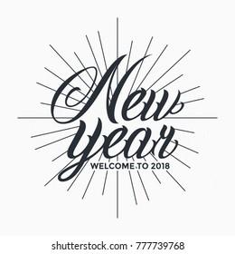 New Year 2018 Lettering Vintage Design Vector Illustration Label