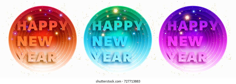 New Year 2018 papercut style poster design set   Glowing snowflakes   Vector illustration