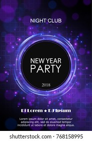 New Year 2018 party design. Abstract vector background