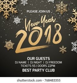 New Year 2018 party poster invitation decoration design. Xmas holiday template background with snowflakes.