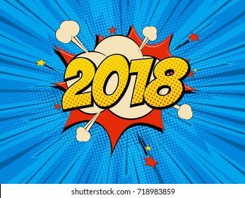 New Year 2018 pop art comic background lightning blast halftone dots. Cartoon Vector Illustration on blue