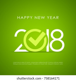 New Year 2018 poster design vector illustration on green background