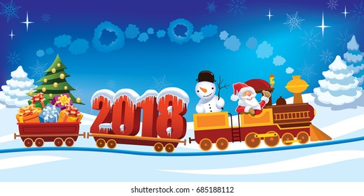 New Year 2018 and Santa Claus in a toy train with gifts, snowman and Christmas tree.