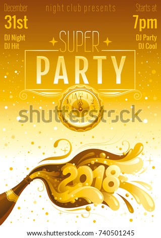new year 2018 vector banner with sparkling champagne bottle with bubbles alcohol drink concept