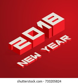New Year 2018. Vector illustration in isometric style