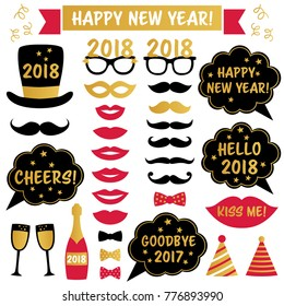 New Year 2018 vector party photo booth props