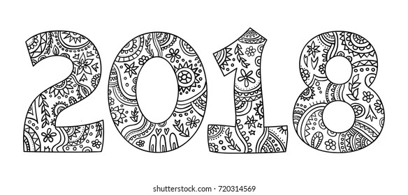 New year 2018 zentangle, black and white coloring page with numbers, hand drawn doodle vector.