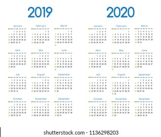 New year 2019 and 2020 vector calendar modern simple design with round san serif font,Holiday event planner,Week Starts Sunday.A4 size