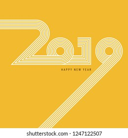 New year 2019 abstract background decorative with vintage retro typography. Design element template can be used for greeting card, postcard, backdrop, brochure, publication, vector illustration