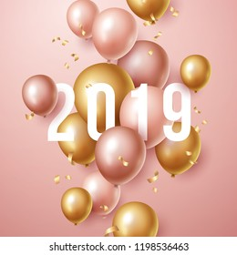 New year 2019 background with floating party balloons. Vector illustration