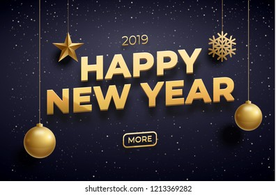 new year 2019 background place for text gold collor