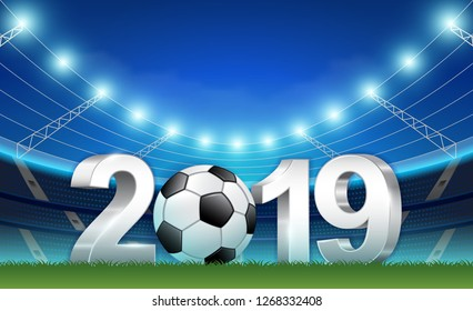 New year 2019 banner template for sport soccer ball national and football league or tournament championship vector illustration