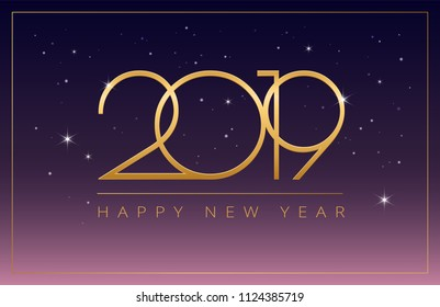 New Year 2019 business greeting card elegant design - Golden 2019 and Happy New Year elegant typography on purple night sky background - vector new year business illustration