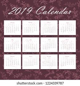 New year 2019 Calendar. Vector Illustration.