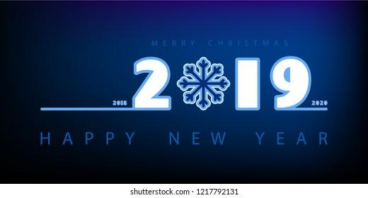 New Year 2019. Calendar. White inscription, merry Chrismas. Festive modern minimalist. Creative rooms. Blue background. Smartphone laptop. Banner, poster, numbers, snowflake, illustration flat design