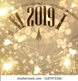 New Year 2019 card with clock and golden sparkle firework. Vector background.