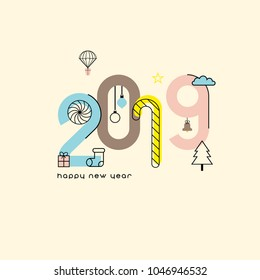 New Year 2019 and Christmas flat line design with simple seasonal icons.