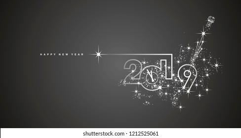 New Year 2019 clock line design sparkle firework champagne white black vector