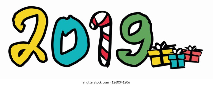 new year 2019 concept. clipart. vector illustration.