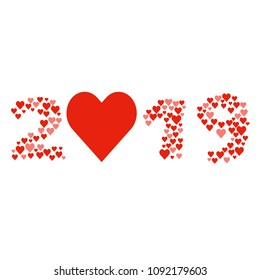 New year 2019 concept - digits created from red hearts. Isolated on white. Lot of love symbols, romantic concept. Design element for card or poster.