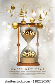 New Year 2019 concept with hourglass falling sand with christmas background