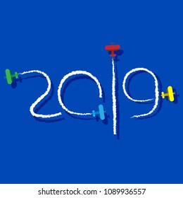 New Year 2019 concept - planes left traces in the form of numbers. Airplane write digits in the sky. Flat vector clip art. Celebration logo.