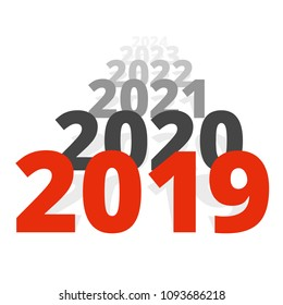 New Year 2019 concept - row of dates going to horizon. Sequence of numbers moving far away. Isolated on white background. Sign for holiday poster or greeting card.