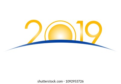 New Year 2019 concept - sunrise with digits. Year number vector clip art - event sign. Celebration logo template for greeting cards.