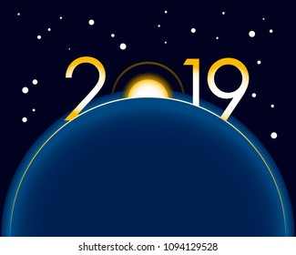 New Year 2019 concept - sunrise with digits. Earth in space, stars behind. Year number vector clip art, celebration logo.