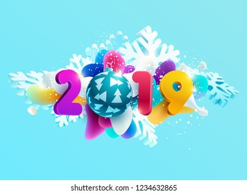 New year 2019.  Design greeting card with snowflakes, ball and numbers
